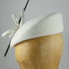Womens Pillbox Hat with Feather (White)