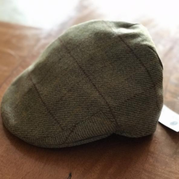 mens brown harris tweed flat cap