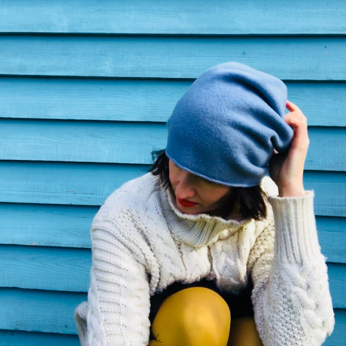 100% Merino Wool Beanie (Ice Blue)