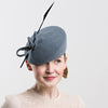 Womens Pillbox Hat with Feather (Grey)