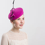 Womens Pillbox Hat with Feather (Pink)