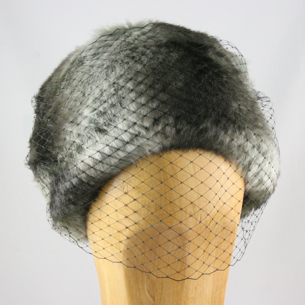 Ladies lace veiled fur hat