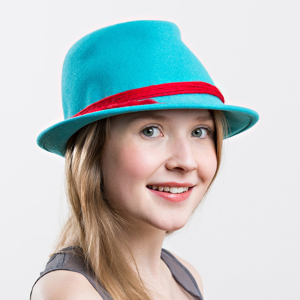 Ladies teal turquoise wool felt fedora