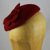 Felt Pillbox Hat with Flower (Red)