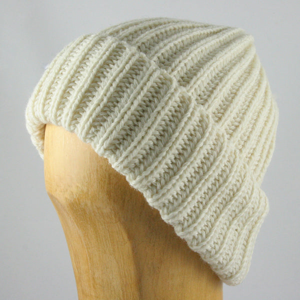 Chunky Knit Beanie Hat (White)