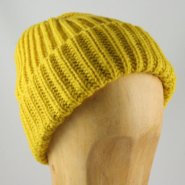 Chunky Knit Beanie Hat (Yellow)