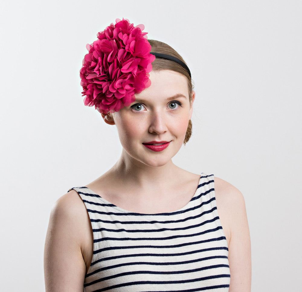 Womens pink tulle fascinator hat heatband Shappos.com