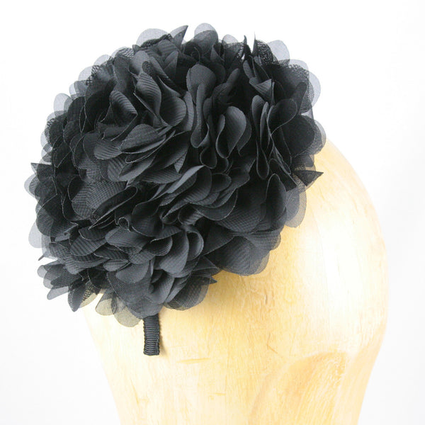 Womens Tulle Flower Fascinator (Black)
