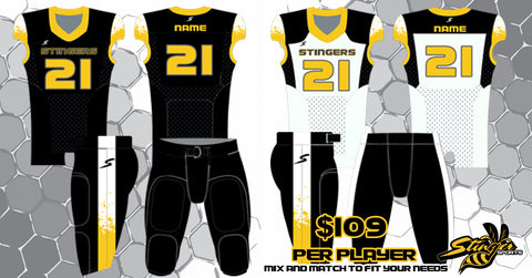 custom home and away football uniform package