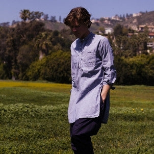 Engineered Garments: Banded Collar Long Shirt (chambray)