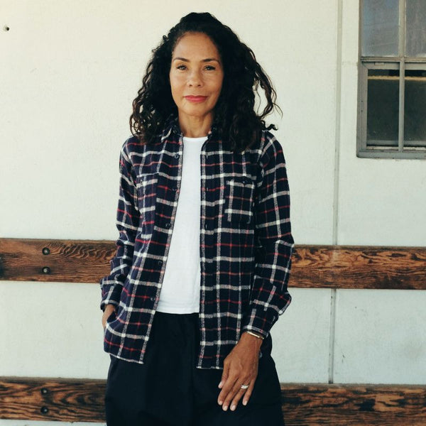 FWK by ENGINEERED GARMENTS: Work Shirt Plaid Flannel (navy/white)