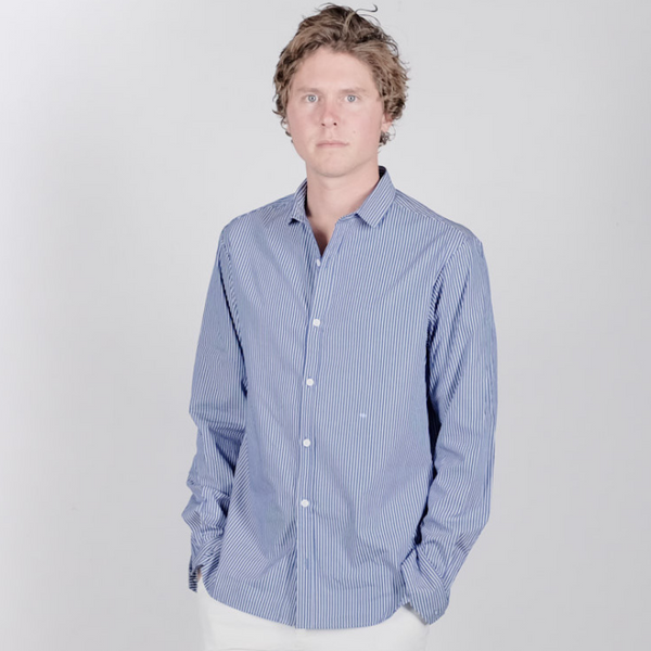Canvas . Malibu: Micro Wide Collar Button Down (denim white stripe)