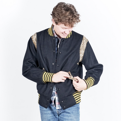 Needles: Award Jacket with Beaver Leopard (black)
