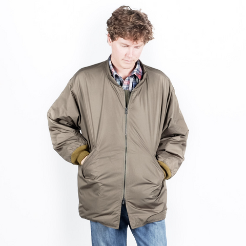 Needles: Band Collar Down Jacket (olive green)