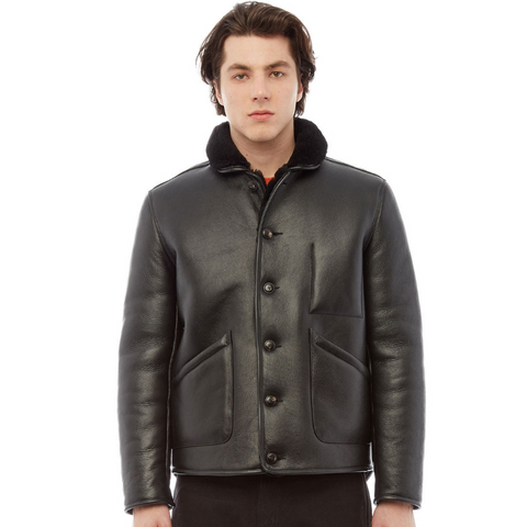 YMC (You Must Create): Brainticket Shearling Leather Jacket (black)