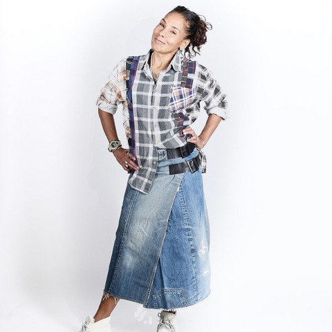 Needles (woman): Denim Wrap Skirt (multi)