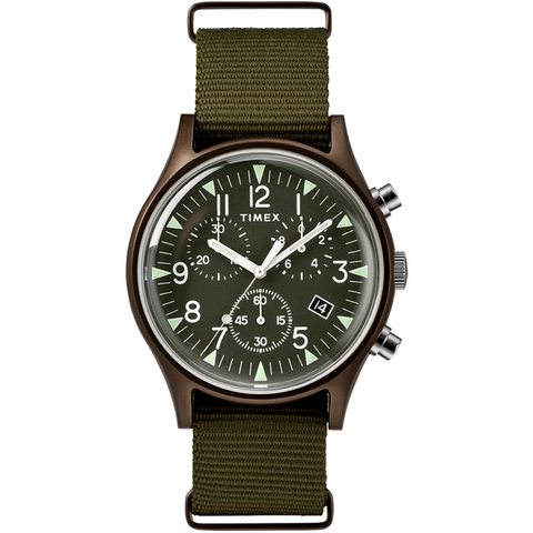Timex:  MK1 Aluminum Chronograph 40mm Fabric Strap Watch (olive)