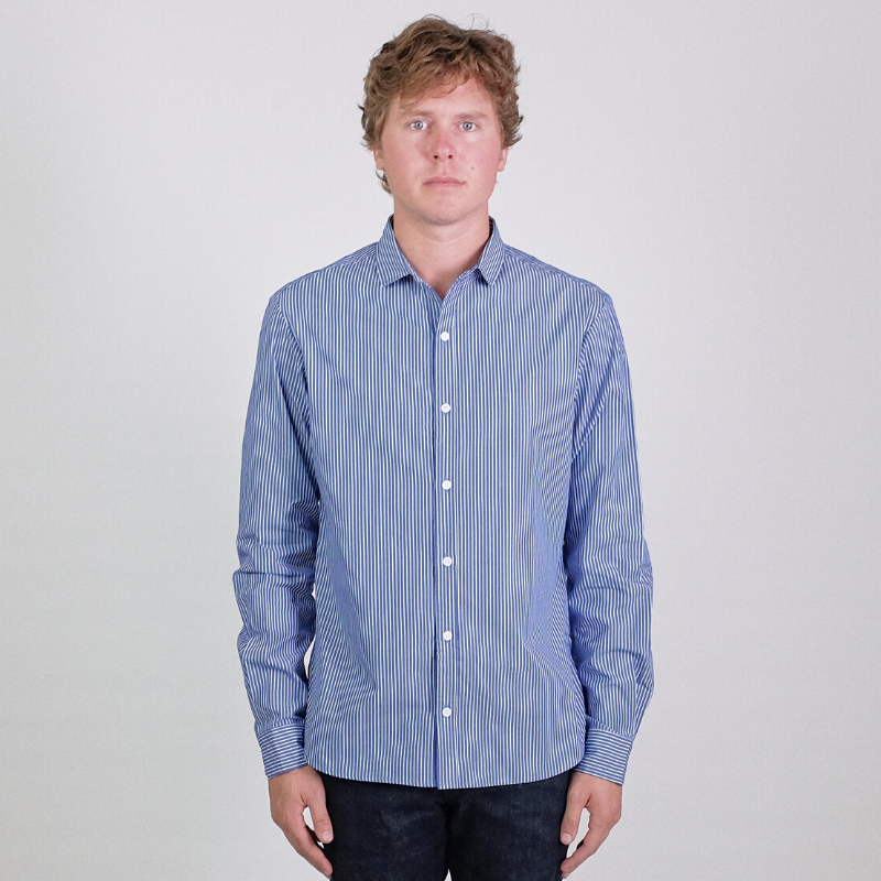 Canvas . Malibu: Micro Wide Collar Shirt (denim stripe)
