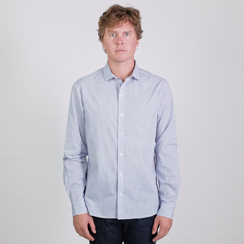 Canvas . Malibu: Micro Wide Collar Shirt (blue windowpane)
