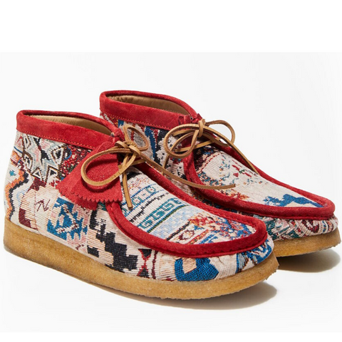 Clarks: Todd Snyder x Clarks . Textile Wallabee Boot (red/multi)