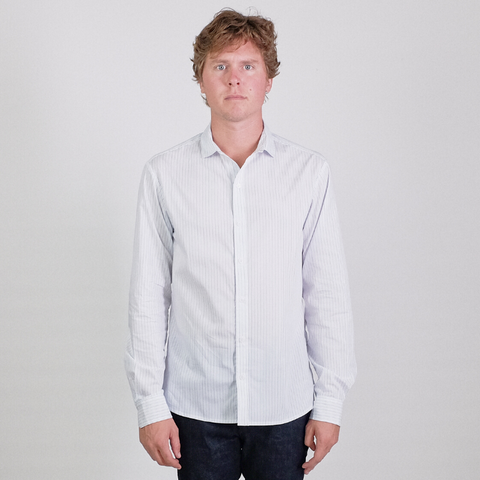 Canvas . Malibu: Micro Wide Collar Shirt (white w. light blue stripe)