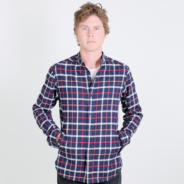 Canvas . Malibu: Shirt 'Shirt' Jacket (navy red plaid flannel)