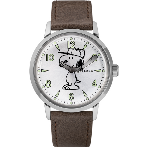Timex:  Welton Vintage Snoopy 40mm Leather Strap Watch