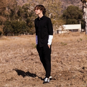 Public School: Elasticated Cuff Woven Shirt (black/white)