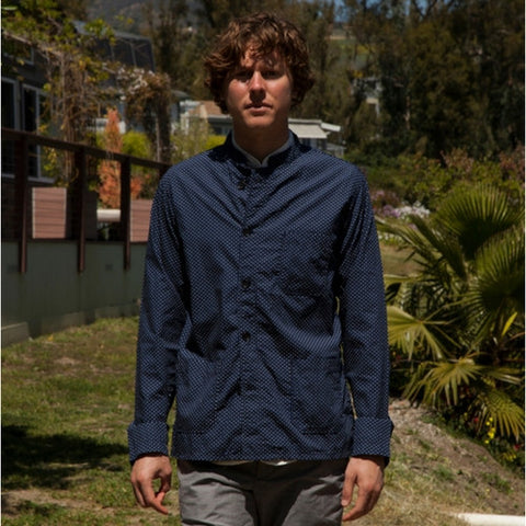 Engineered Garments: Dayton Shirt (navy polka dots)