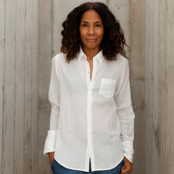 Nili Lotan: White Sheer Stripe NL Shirt (white)