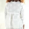 Blue Blue Japan (woman): Circle Embroidery Crossover Shirt (white)