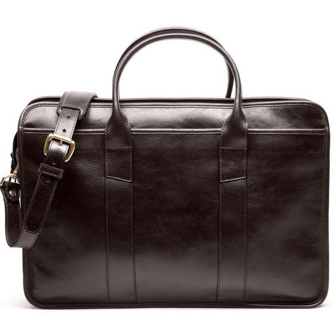 Leather Zip-Top Briefcase (chocolate)