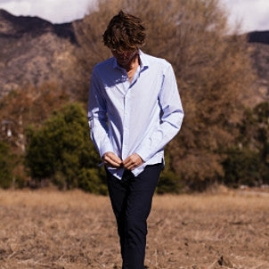 Canvas . Malibu: Micro Wide Collar Button Down (light blue fine stripe)