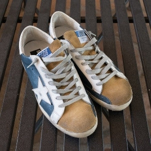 Golden Goose: Super Star (blue leather/beige suede/white star)