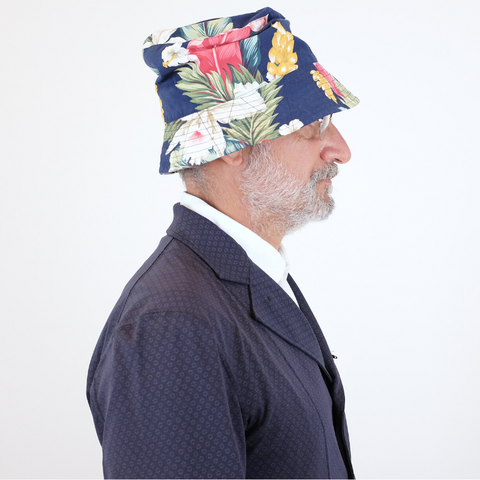 Engineered Garments: Bucket hat (navy hawaiian floral microfiber)