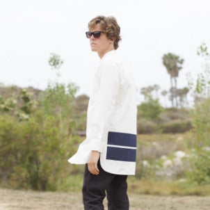 Blue Blue Japan (man): Two Line Stand Collar Long Shirt (white/indigo)