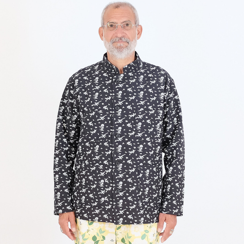 Engineered Garments: Dayton Shirt (black white floral Jacquard)