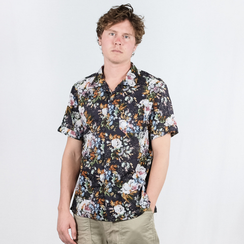 Engineered Garments: Camp Shirt Botany (dark navy)