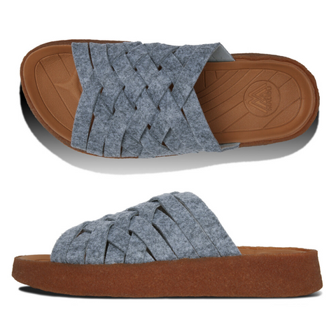 Malibu Sandals: Men's Zuma Felt /Crepe Rubber/ Grey/Tan