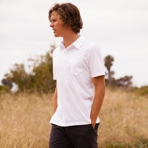Officine Generale: BD Polo Ss Ultra Light Jersey (white)