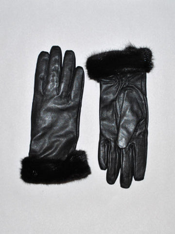Leather Glove with MInk Trim-Black