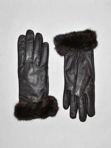 Leather Glove with Mink Trim-Brown