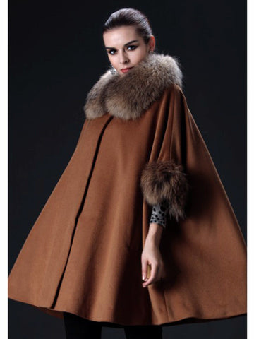 Cashmere Cape with Raccoon Collar
