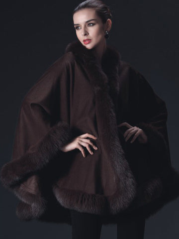 Cashmere Cape with Fox Trim
