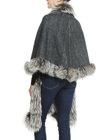 Silver Fox Reversible Cashmere Wrap