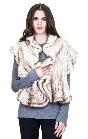 Knitted Mink Ruffle Scarf