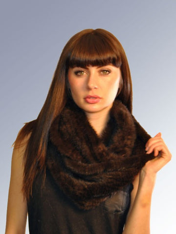 Knitted Mink Infinity Scarf- Brown