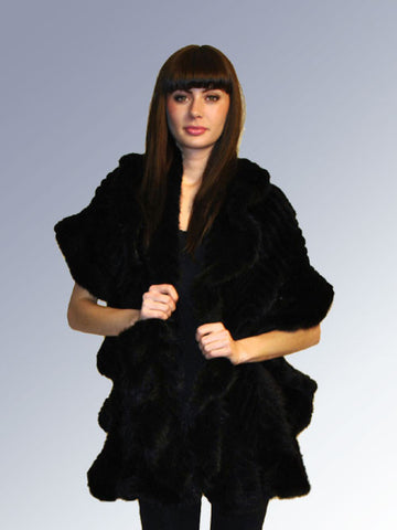 Knitted Mink Ruffle Wrap