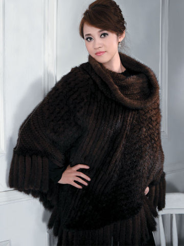 Pink MInk Knitted Mink Poncho with Cowl-Neck Collar