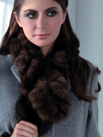 Pink Mink Knitted Mink Ruffle Scarf